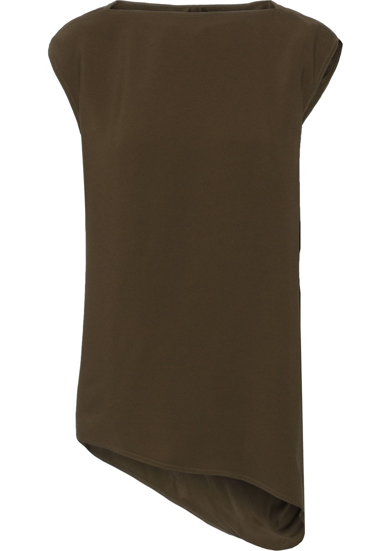 Rick Owens Woman Nouveau Asymmetric Draped Crepe Top Army Green