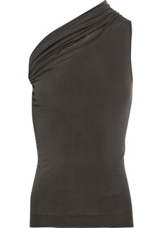 Rick Owens Woman One-shoulder Gathered Cashmere-blend Top Anthracite