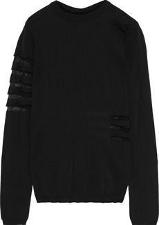 Rick Owens Woman Open Knit-trimmed Cotton Sweater Black