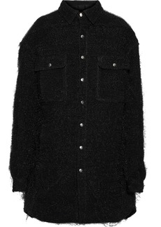 Rick Owens Woman Oversized Brushed-woven Coat Black