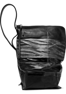 Rick Owens Woman Paneled Coated-cotton Smooth And Textured-leather Bucket Bag Black