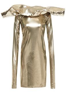 Rick Owens Woman Paneled Sequin-embellished Lamé Mini Dress Bronze