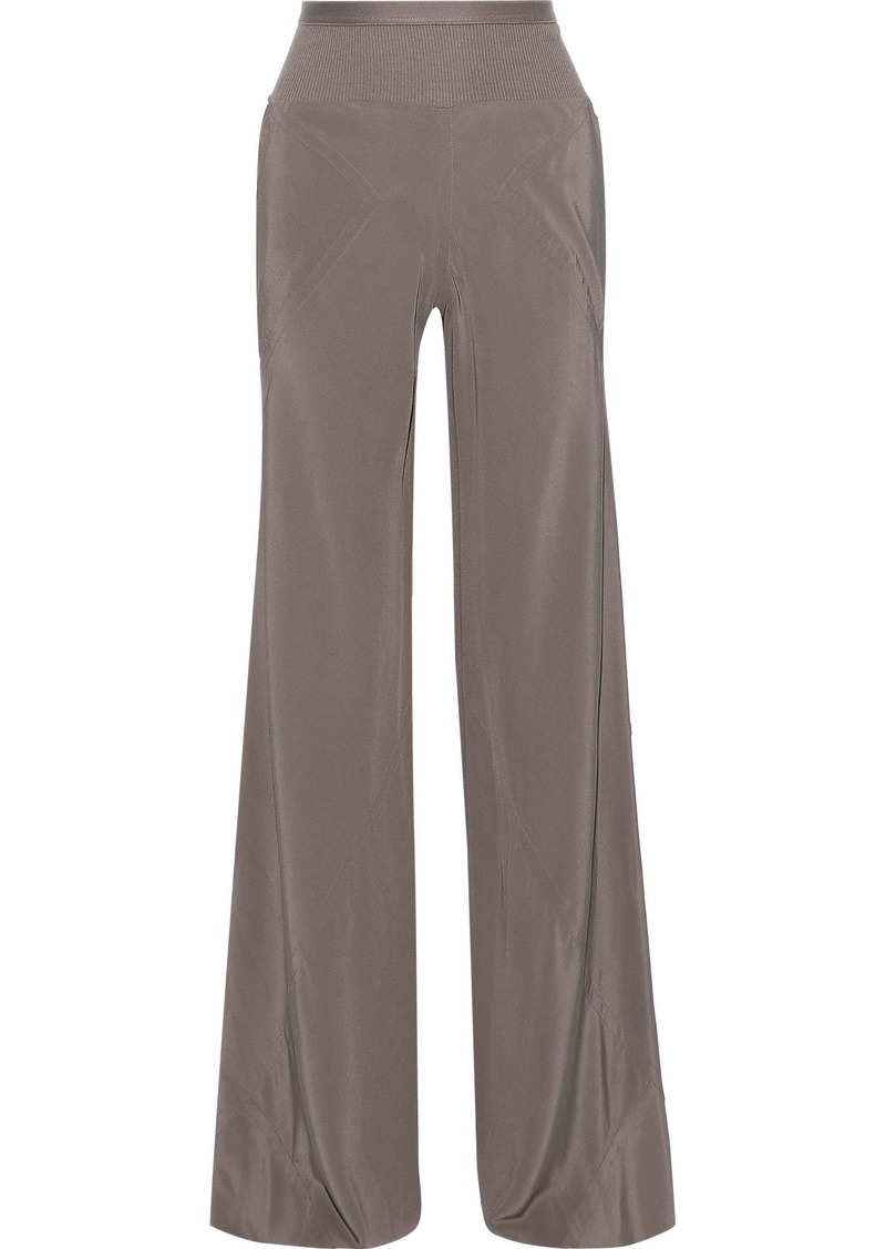 Rick Owens Woman Paneled Silk Crepe De Chine Wide-leg Pants Gray