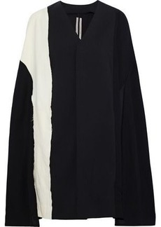 Rick Owens Woman Paneled Two-tone Wool-blend Cape Black