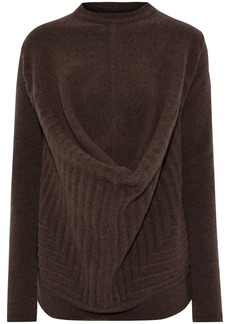 Rick Owens Woman Pelican Draped Brushed Wool-blend Sweater Chocolate