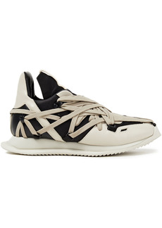 Rick Owens Woman Phlegethon Lace-up Shell And Leather Sneakers Black