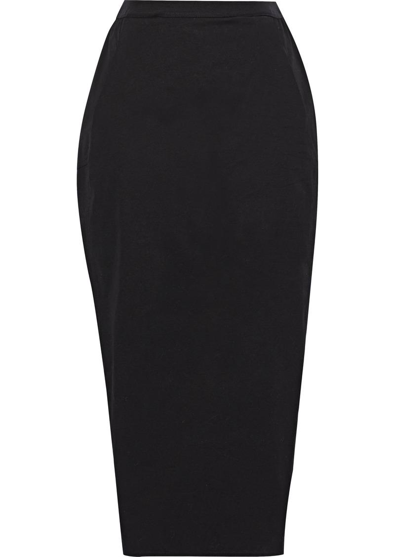 Rick Owens Woman Pillar Cotton-blend Jersey Pencil Skirt Black