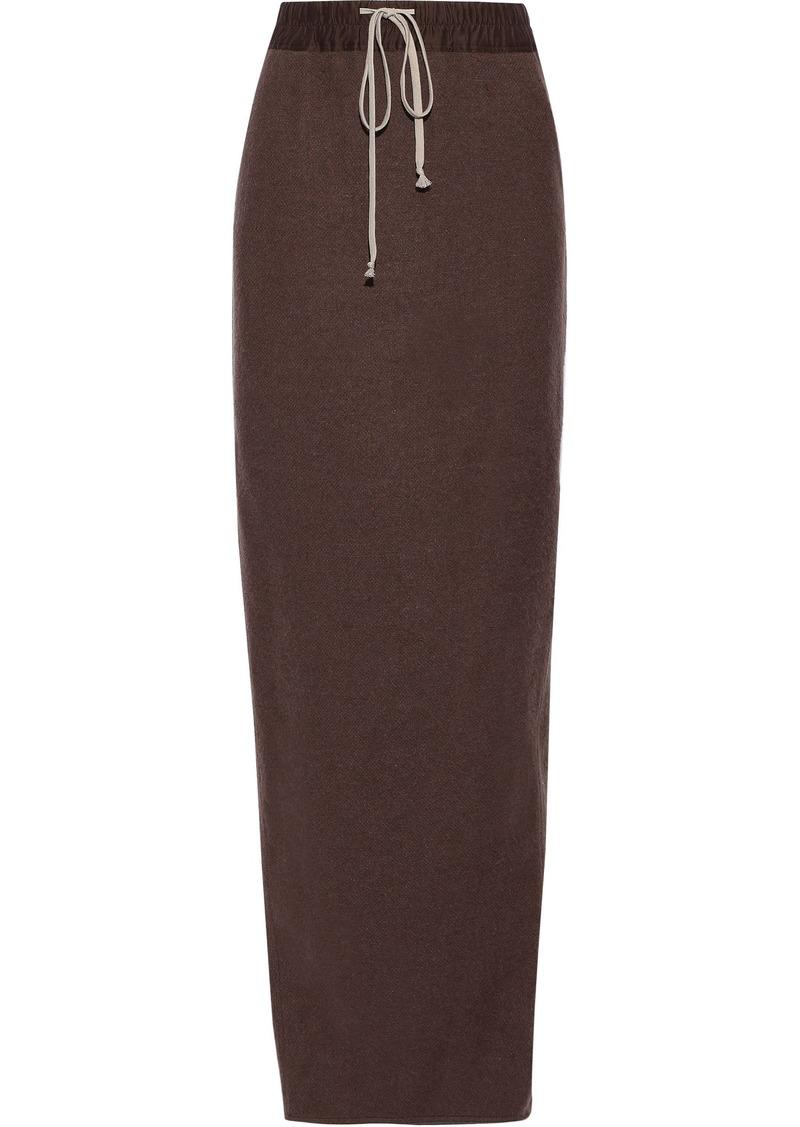 Rick Owens Woman Pillar Split-back Brushed Camel And Linen-blend Maxi Skirt Merlot
