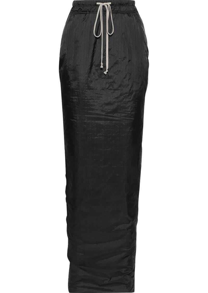 Rick Owens Woman Pillar Split-back Crinkled-shell Maxi Skirt Black