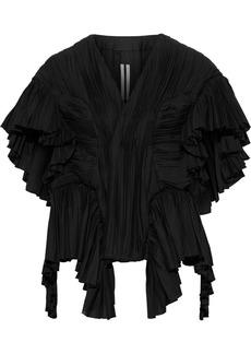 Rick Owens Woman Pleated Ruffled Cotton-poplin Jacket Black