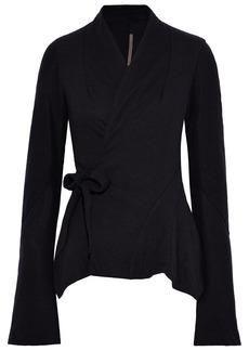 Rick Owens Woman Princess Brushed-jersey Wrap Jacket Black