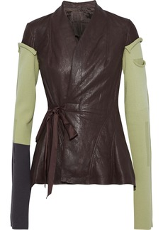 Rick Owens Woman Princess Wool-paneled Coated-leather Wrap Jacket Merlot