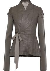 Rick Owens Woman Princess Wool-paneled Coated-leather Wrap Jacket Mushroom