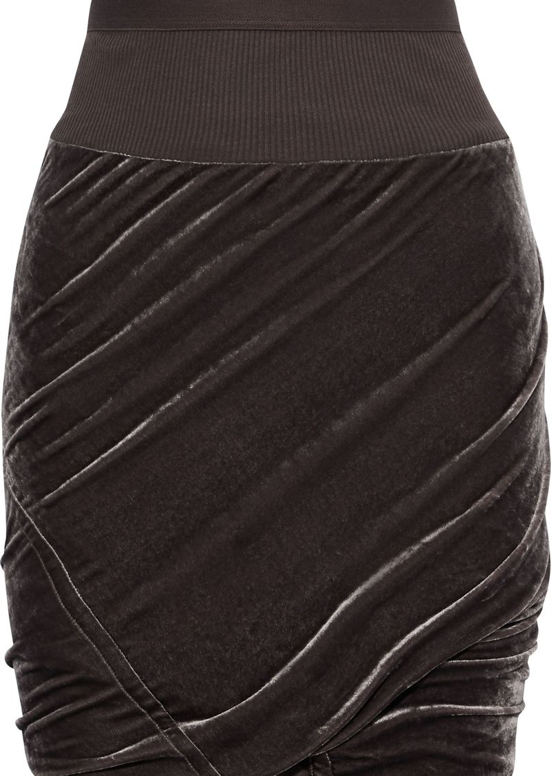 Rick Owens Woman Ribbed Knit-trimmed Ruched Velvet Pencil Skirt Grape
