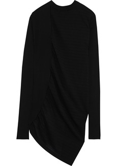 Rick Owens Woman Ribbed And Open-knit Cotton Top Black
