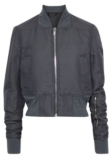 Rick Owens Woman Ribbed Cotton And Silk-blend Bomber Jacket Storm Blue