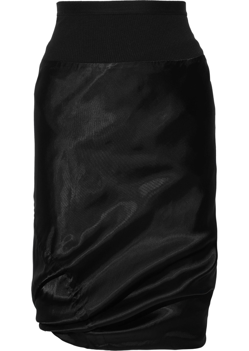 Rick Owens Woman Ribbed Knit-paneled Cupro-satin Skirt Black