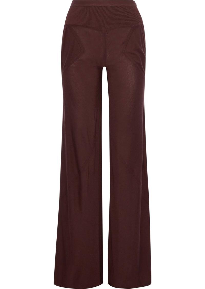 Rick Owens Woman Ribbed Knit-paneled Jersey Wide-leg Pants Burgundy
