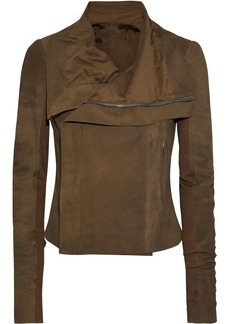 Rick Owens Woman Ribbed Knit-paneled Nubuck Biker Jacket Sage Green