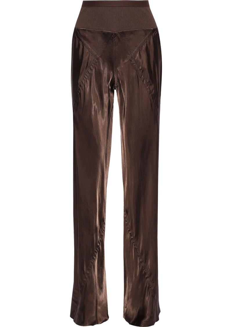 Rick Owens Woman Paneled Cupro-sateen Wide-leg Pants Brown