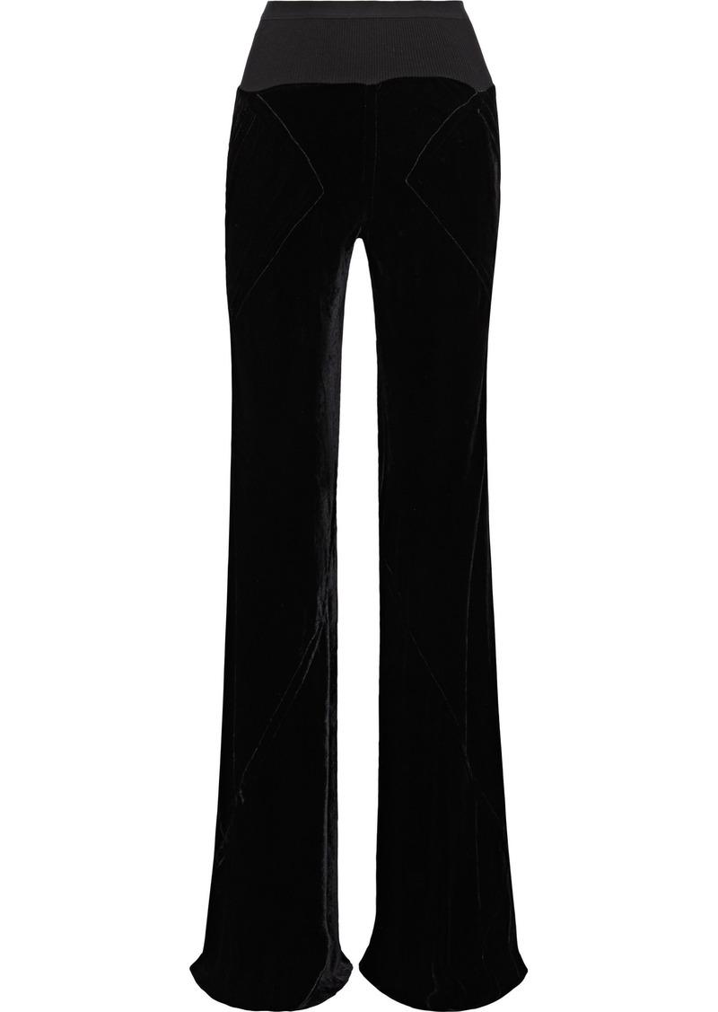 Rick Owens Woman Velvet Flared Pants Black