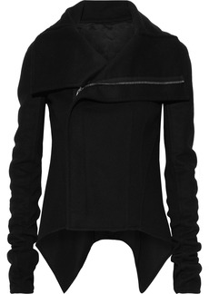 Rick Owens Woman Ribbed Knit-paneled Wool-blend Jacket Black