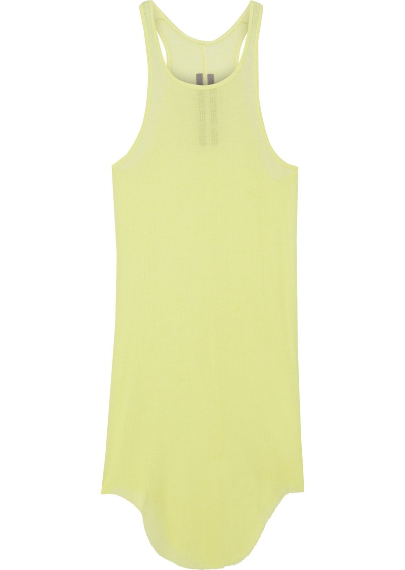 Rick Owens Woman Ribbed-knit Tank Pastel Yellow