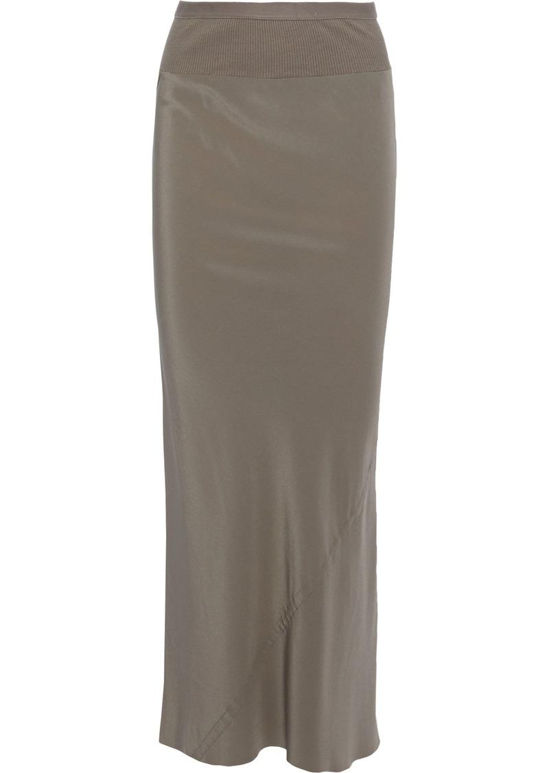 Rick Owens Woman Ribbed Knit-trimmed Silk Crepe De Chine Maxi Skirt Mushroom