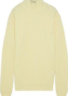 Rick Owens Woman Ribbed Wool Turtleneck Sweater Pastel Yellow