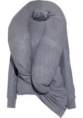 Rick Owens Woman Root Draped Distressed Nubuck Hooded Down Jacket Gray