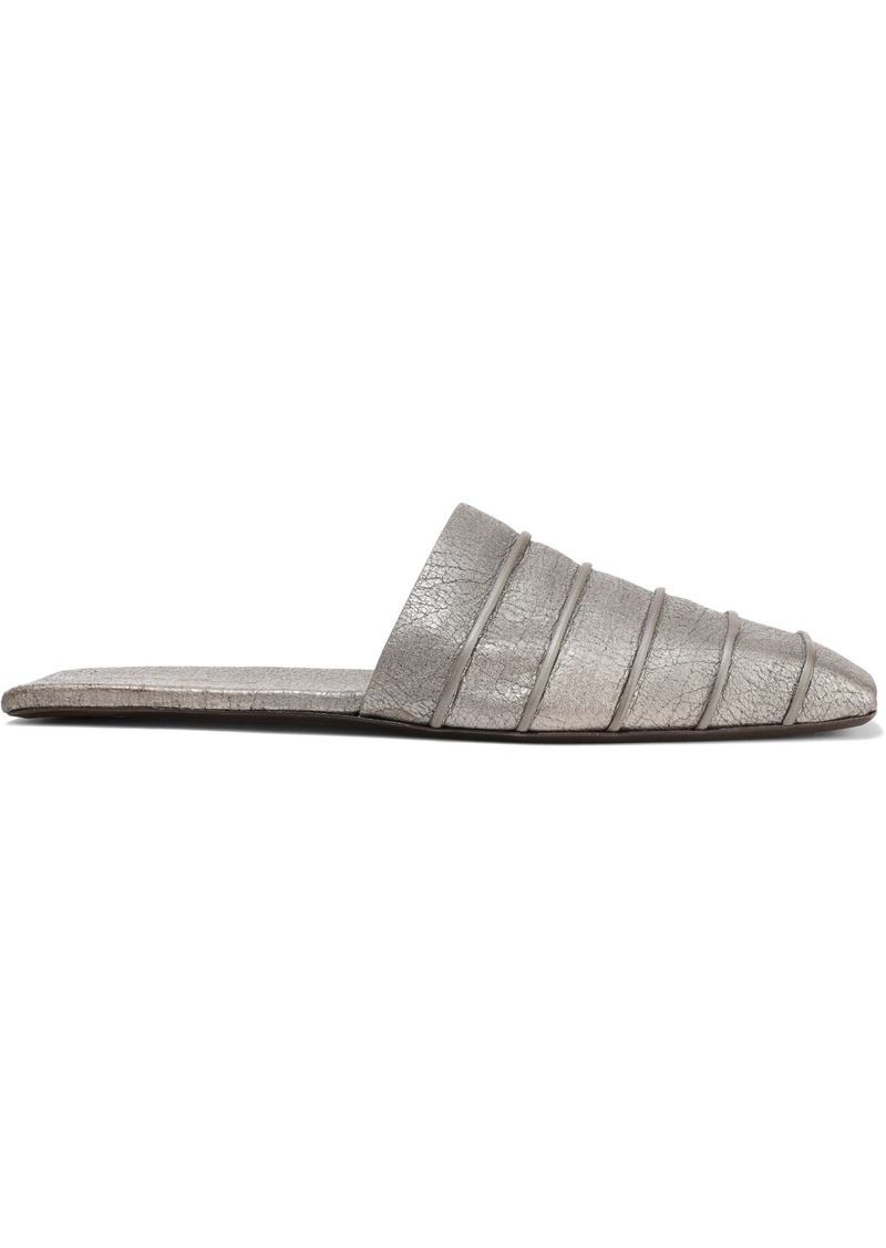 Rick Owens Woman Ruhlmann Metallic Cracked-leather Slippers Silver