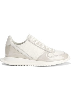Rick Owens Woman Runner Coated Suede Leather And Frayed Woven Sneakers White
