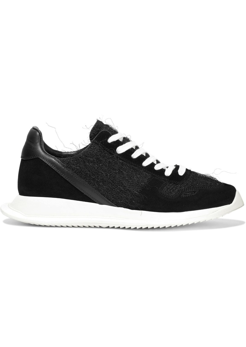 Rick Owens Woman Runner Leather Suede And Frayed Woven Sneakers Black