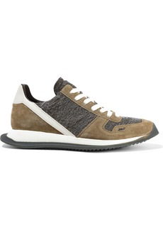 Rick Owens Woman Runner Leather Suede And Frayed Woven Sneakers Neutral