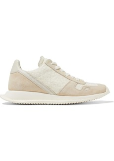 Rick Owens Woman Runner Leather Suede And Frayed Woven Sneakers White