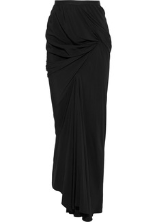 Rick Owens Woman Seb Draped Crepe De Chine Maxi Skirt Black
