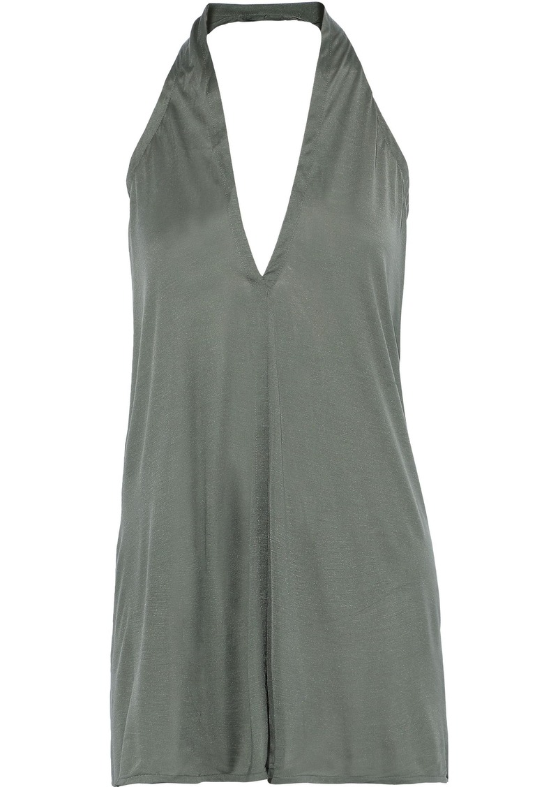 Rick Owens Woman Silk-jersey Halterneck Top Grey Green