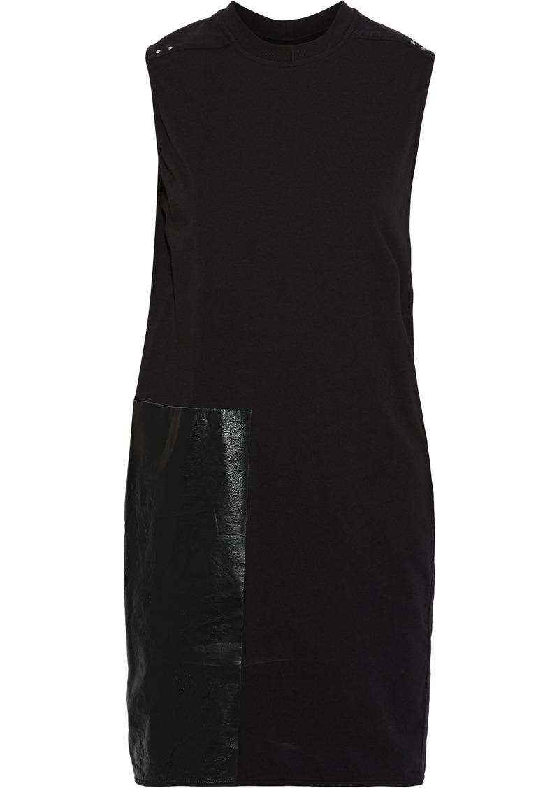 Rick Owens Woman Sisytank Paneled Coated Cotton-jersey Tunic Black
