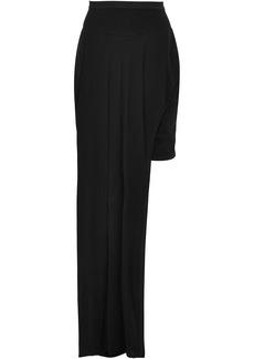 Rick Owens Woman Skirt-effect Draped Printed Sateen Shorts Black
