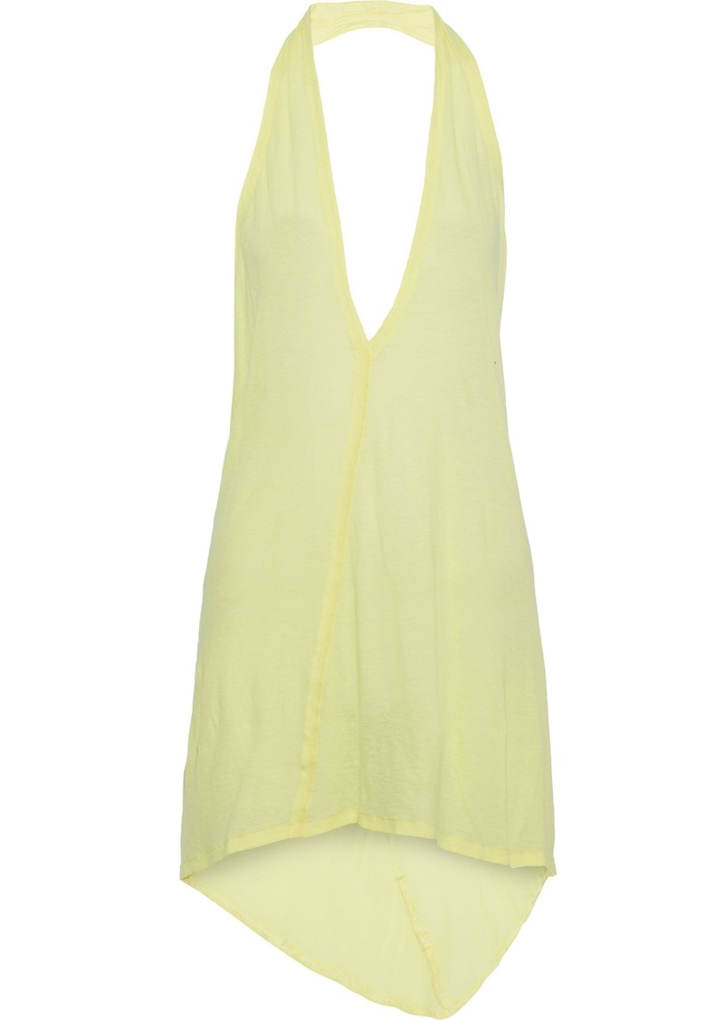 Rick Owens Woman Slub Cotton-jersey Halterneck Top Lime Green