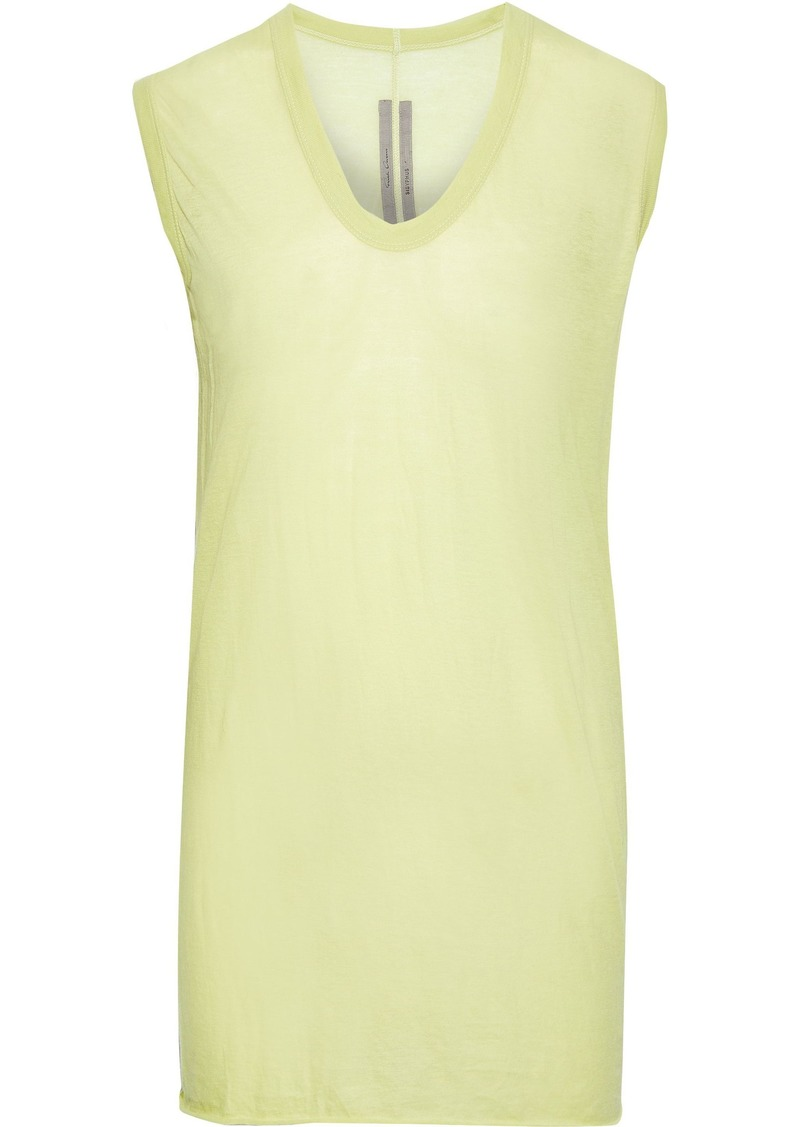 Rick Owens Woman Slub Cotton-jersey Top Light Green