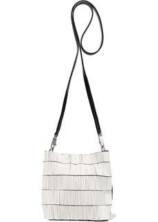 Rick Owens Woman Small Adri Leather-trimmed Beaded Canvas Shoulder Bag Ivory