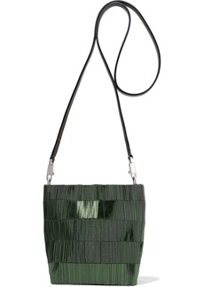 Rick Owens Woman Small Adri Leather-trimmed Beaded Canvas Shoulder Bag Forest Green