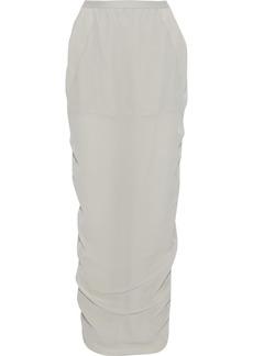Rick Owens Woman Soft Pillar Split-back Silk-crepe Maxi Skirt Stone