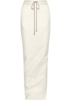 Rick Owens Woman Split-back Coated-cotton Maxi Skirt Off-white