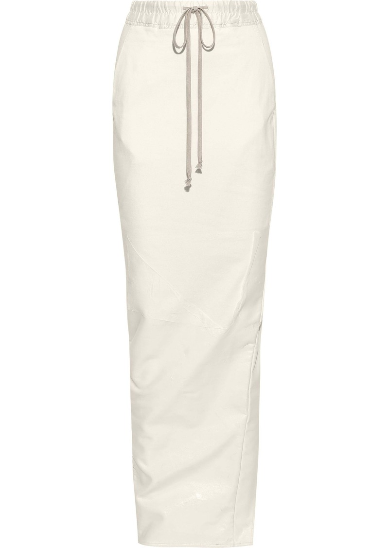 Rick Owens Woman Split-back Coated-cotton Maxi Skirt Off-white