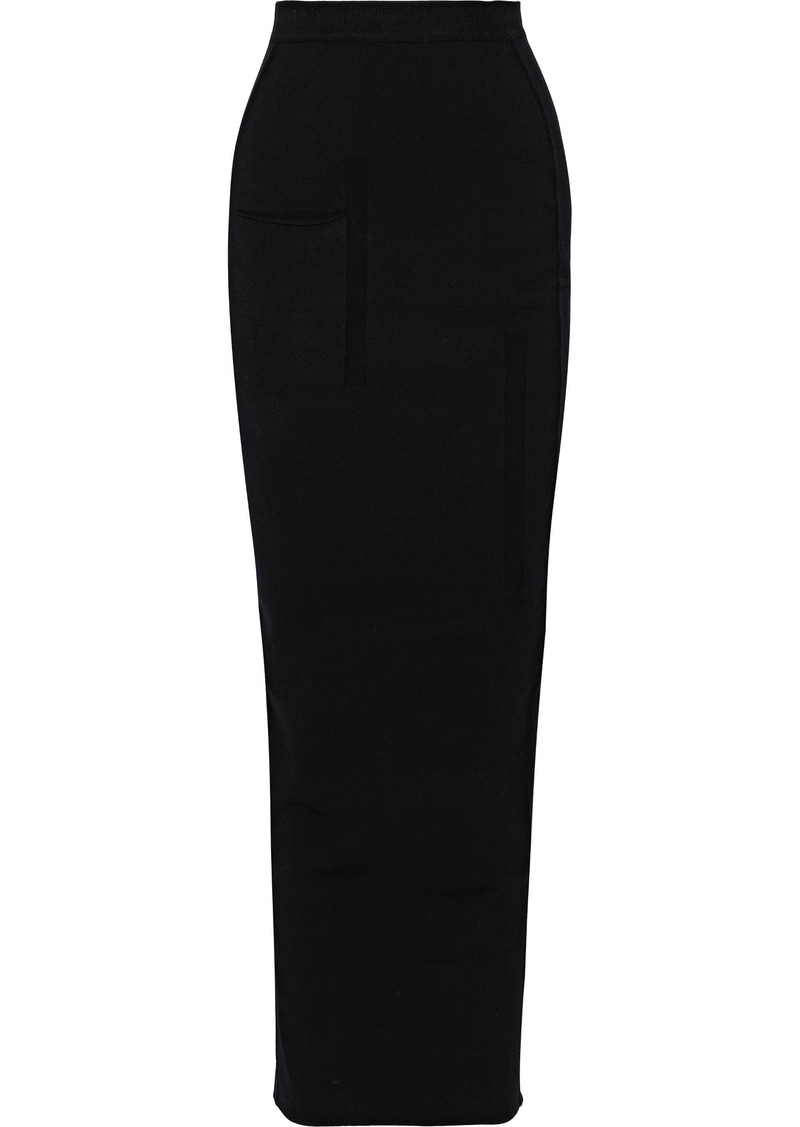 Rick Owens Woman Split-back Stretch-knit Maxi Pencil Skirt Black
