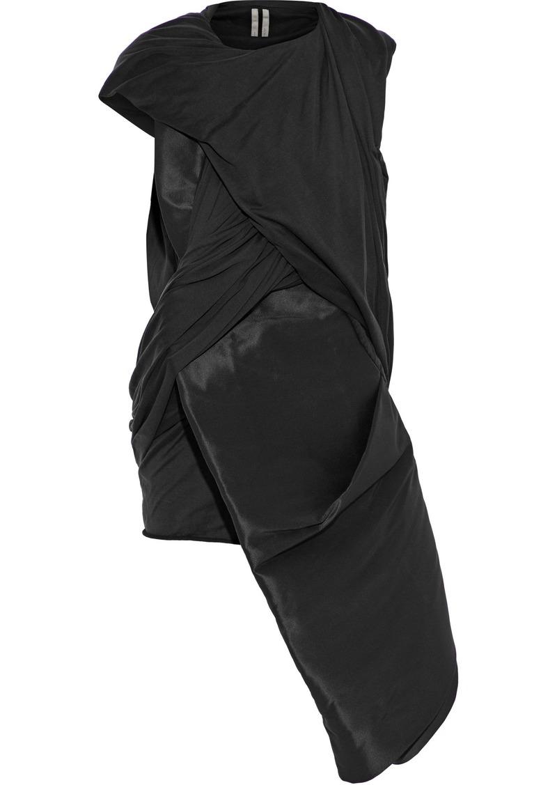 Rick Owens Woman Stomper Asymmetric Satin-paneled Silk-jersey Top Black