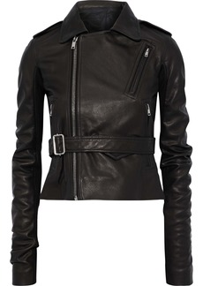 Rick Owens Woman Stooges Belted Ribbed Knit-paneled Textured-leather Biker Jacket Black