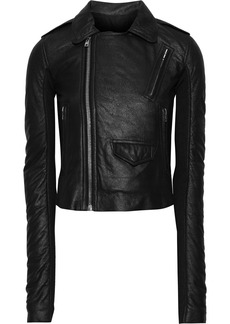Rick Owens Woman Stooges Cropped Coated-leather Biker Jacket Black